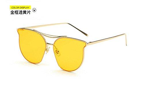 de moda de Unidos film señoras color metal Europa y yellow los marea de reflexivo gafas LSHGYJ sol sol gafas personalidad retro Gold through brillante Estados GLSYJ frame gafas qYA6XnfP