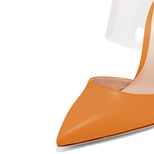 Size Brown Party 4 Sandals Women Clear Mules Sexy High US Shoes 15 Toe Stiletto Pointed FSJ Heels v7Baxfqq