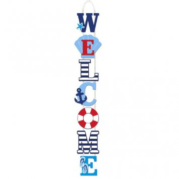 Nautical Welcome Sign (Summer Fun Stacked Nautical Deluxe WELCOME Sign, 28