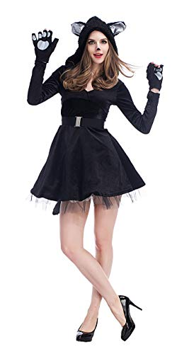 Women's Halloween Black Cat Cosplay Costume Hooded Dress -