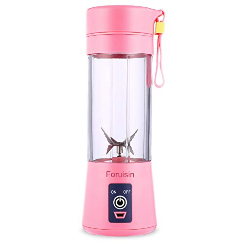 Foruisin Portable Personal Blender, Household Juicer fruit shake Mixer -Six Blades, 380ml Baby cooking machine with USB Charger Cable (Pink)