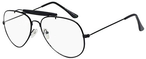 Non-Prescription 55mm & 60mm Classic Tear Drop Brow Bar Clear Lens Aviator Sunglasses Gold Frame Eye Glasses (Black (Sun Sensor), Clear / Smoke)