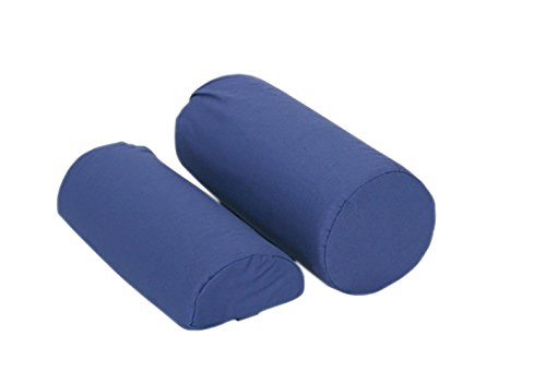 Roll Pillow with removable navy blue cover, 10.75'' x 4.75''