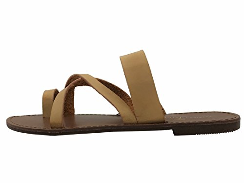 Ring On Tan Focus Slip Metric Over Flat Fashion Sandal Double Toe Fashion Toe Strap AnwrwIqO0
