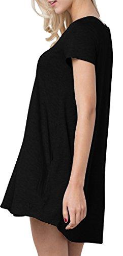 Altalena A Del Margherita Turno Solido Sol Vestito Maglietta V Manica Nero Scollo Bambù Corta Estivo Zv11Xrnxq