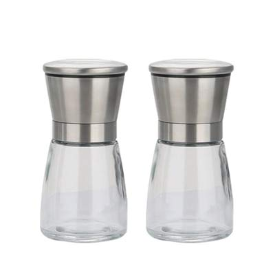 Herb & Spice Tools | Salt And Pepper Mill Shakers Stainless Steel Manual Sea Salt Mills Adjustable Ceramic Pepper Grinder With Glass Body | By ATUTI by ATUTI