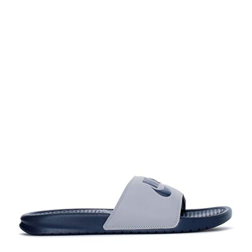 Nike Men's Benassi Just Do It Athletic Sandal Wolf Grey/Midnight Navy 10 M US
