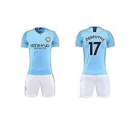 FNBA Maillot de Soccer Manchester City F.C pour garçons, Ensemble Maillot et Short Kevin De Bruyne # 17