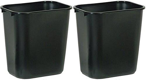 Rubbermaid Commercial FG295600BLA Plastic Deskside Wastebasket, 28-1/8-quart, Black, 2 Cans (Wastebasket Plastic)