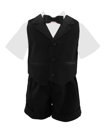 G224 BABY AND TODDLER BOY SUMMER TUXEDO SHORT SET BLACK (2T)