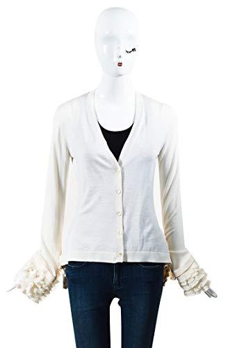 Alexander McQueen Women's Cream Silk & Wool Blend Tiered Frill Cardigan SZ M