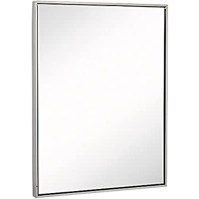 """Clean Large Modern Polished Nickel Frame Wall Mirror 