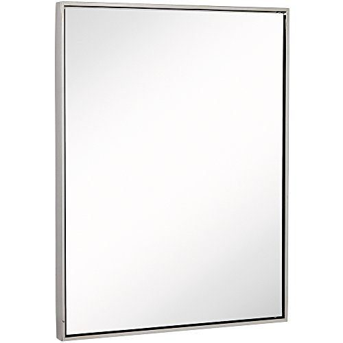 Clean Large Modern Polished Nickel Frame Wall Mirror | Contemporary Premium Silver Backed Floating Glass | Vanity, Bedroom, or Bathroom | Mirrored Rectangle Hangs Horizontal or Vertical  (30
