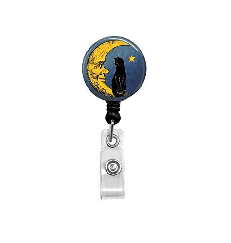 Black Cat Sitting on Moon Badge Reel - Retractable ID Holder - Nurse Badge Reel - Moon Badge Reel -
