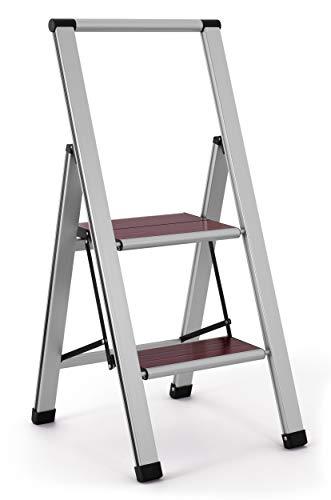3.02' Brushed Aluminum/Wood Lightweight 2 Step Ladder ()