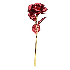 Artificial & Dried Flowers - 24k Gold Plated Long Stem Rose Flower Mothers Day Home Decoration Wedding Bouquets - Cemetery Tulips Projects Kids Office Sugar Planting Room Anniversary Ear 70
