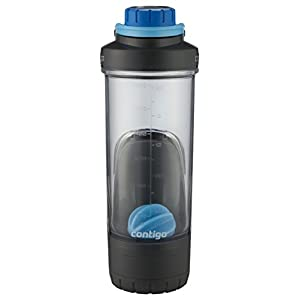 Contigo Shake & Go Fit Shaker Bottle with Gym Storage and TasteGuard Protection, 24 oz, Deep Sea Blue