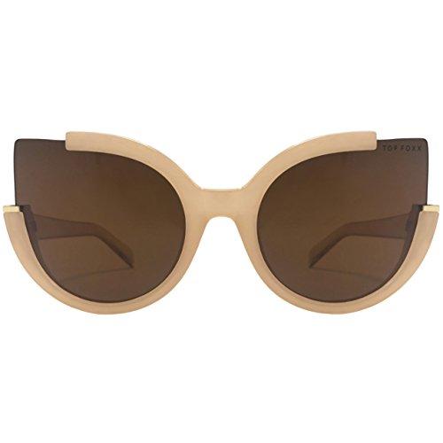 TopFoxx Chloe High Fashion Cateye Sunglasses for Women, Nude & -