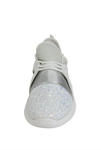 753ef9d6d85f ROXY ROSE Women Glitter Sneakers Casual Quilted Lace Up Sparkly Sports  Running Shoes