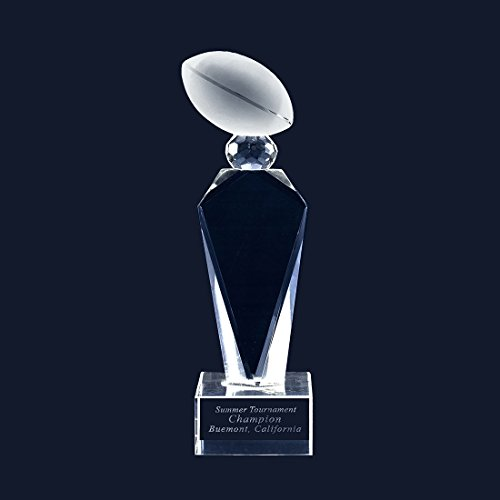 tomize Laser Trophy Engraving Crystal Glass Football Trophy (X-Large, With Engraving) ()