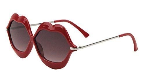 Smooch Kiss Bold Lips Oversized Sunglasses (Silver Frame w/ Red Lips, Black - Sunglasses Protection Uv Kiss 100