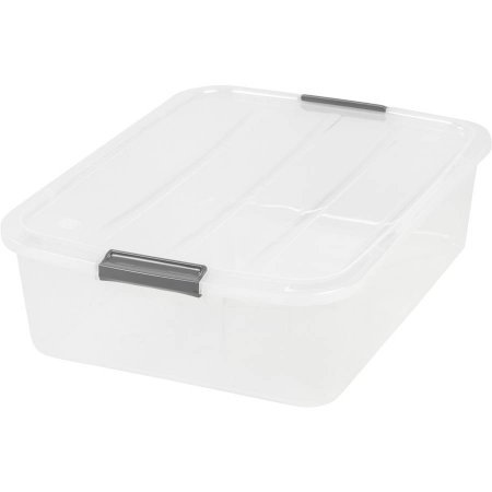 USA 100543 32 quart Under bed Buckle Up Box, Clear, 5 Pack by IRIS USA, Inc.