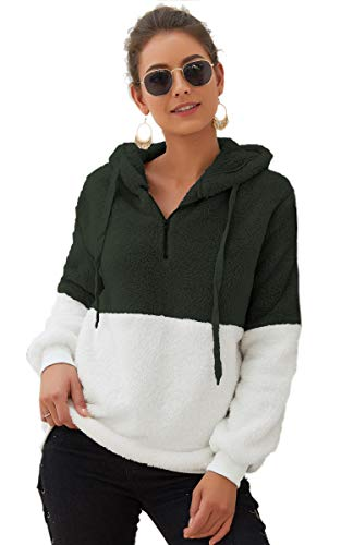 (Angashion Womens Sweatshirt - Long Sleeve 1/4 Zip Up Faux Fleece Pullover Hoodies Coat Tops Outwear with Pocket 174 Army Green L)