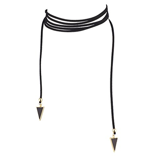 Lux Accessories Black and Gold Tone Triangle End Faux Suede Tie (Wrap Lariat Necklace)