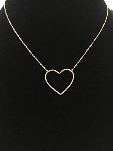 Necklace Heart Gold Large (Large Open Heart Charm Necklace, Real Sterling Silver 925 (Gold), Valentine's Gift, Minimalist Heart Necklac)