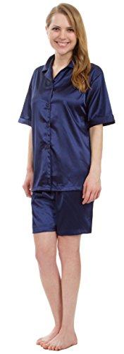 Stretch Satin Set (Leisureland Classic Women's Stretch Satin Short Sleeve Pajama Set (Medium, Style #2 Navy))