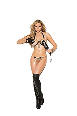 Women's Halter Neck Leather Trim Cupless Chain Bra And Skirt Set