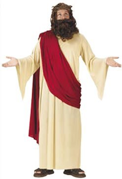 FunWorld Men's Jesus Adult Costume, Cream/Red, One Size Fits Up To 6ft. 200 lbs. - Jesus Robes Costume
