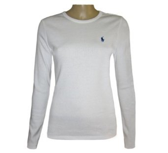 RALPH LAUREN WOMENS LADIES (WHITE) LONG SLEEVE TOP T SHIRT (CREW NECK) S M  L (M)  Amazon.co.uk  Clothing 516447699