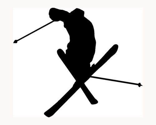 (Skier Silhouette Sticker Ski Car Window Vinyl Decal Extreme Sports Snow Trick S3 - Die cut vinyl decal for windows, cars, trucks, tool boxes, laptops, MacBook - virtually any hard, smooth surface)
