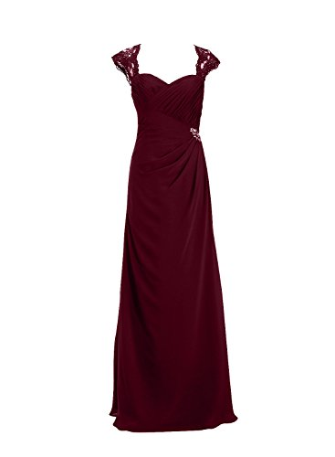 ALAGIRLS Womens Mermaid Prom Dresses Long Lace Straps Evening Gowns With Beading Burgundy US10