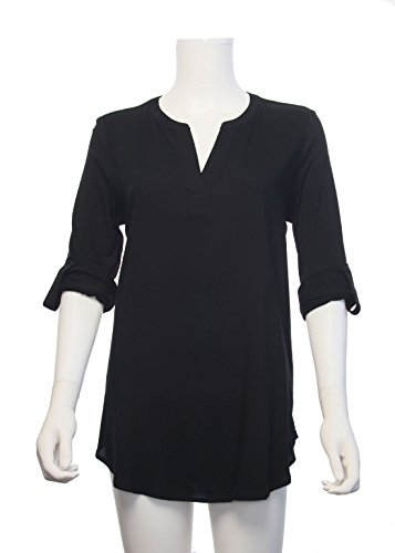 Sleeve Tab 3/4 (Pleione Womens V-Neck Pleated Shoulder Solid Blouse with 3/4 Button Tab Sleeve (M, WBQ501948_Black))