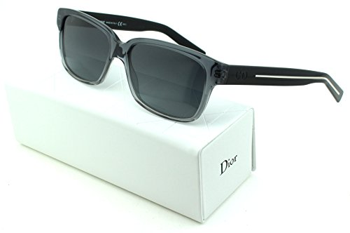Dior Black Tie 148/S Square Unisex Sunglasses (Grey Black Crystal Frame, Grey Shaded Lens - Shaded Glasses Reading