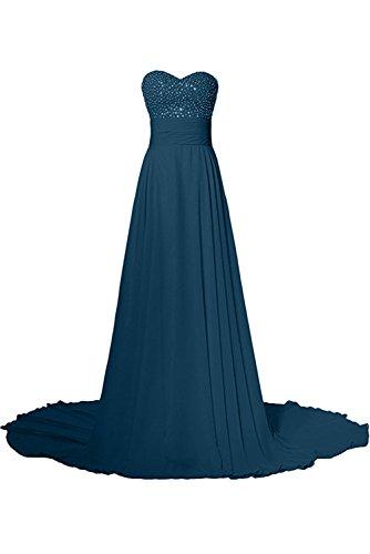 Schleppe Blaugruen Ivydressing Abendkleider Steine Festkleider Herzform Damen Ballkleider Liebling Lang qwvwIPa
