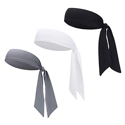 (DEMIL Sports Headband - Head Tie Tennis Tie Hairband - Sweatbands Headbands Wristbands Head Wrap - Ideal for Working Out,Tennis (3pcs-Black+White+Grey))