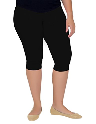 Stretch is Comfort Women's Knee-Length Leggings Black (Knee Length Pants)