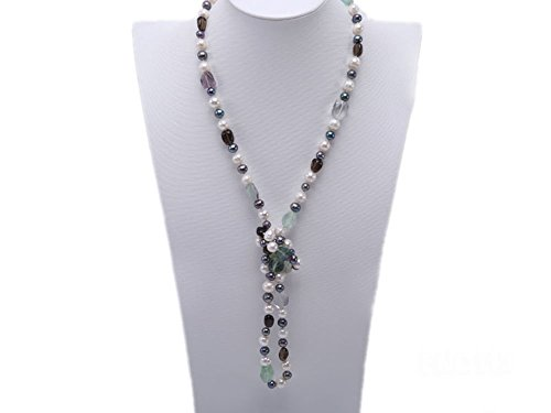 (JYX 8-9mm White and Green Peacock Oval Freshwater Pearl and Alternated Fluorite and Smoky Crystal Necklace)