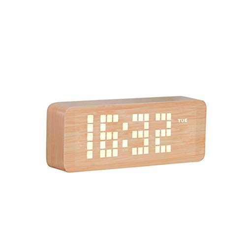 - Nosterappou Five Groups of Alarm Lazy People Clock Fashion Electronic Wood Desk Clock Student Bed Two Power Supply Mode Voice Control Sleepy Luminous Alarm Clock (Color : Wood Color)