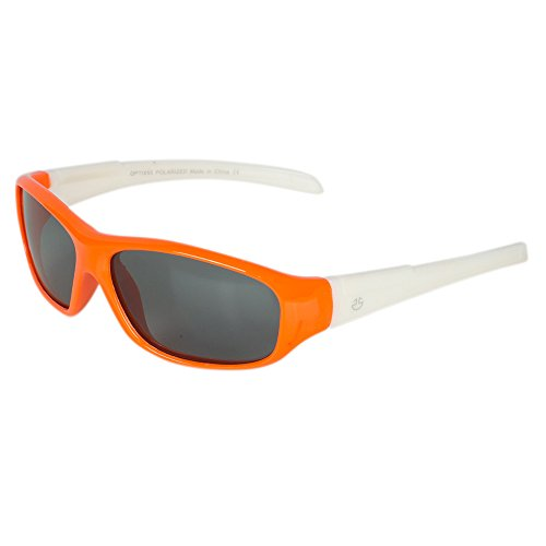 Flexible Rubber Kids Sunglasses for Boys and Girls - Bendable Unbreakable Silicone Gel Frame with Polarized Lenses - by Optix 55 (Orange & White, - Childs Sunglasses