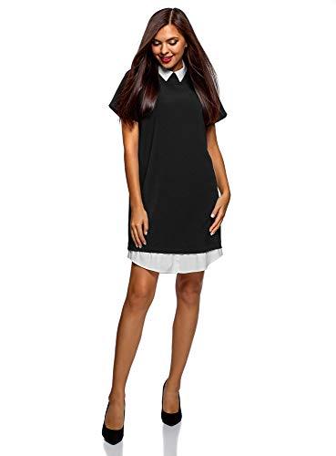 oodji Ultra Mujer Vestido Combinado con Cuello, Negro, ES 38 / S