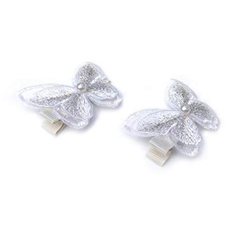 Schmetterlings-Haarspangen – Set mit 2 Stück – Weiß/Cremeweiß mit Perle