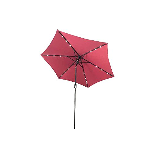 ALEKO UMB9L18BG Solar Powered LED Lighted Outdoor Patio Table Umbrella Waterproof Polyester with Tilt Adjustment 8 x 9 Feet Burgundy