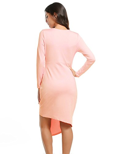Sexy Neck Long Pink ACEVOG Party V Dresses Women Sleeve Bodycon Cocktail Shocking Wrap wUYwxgqa