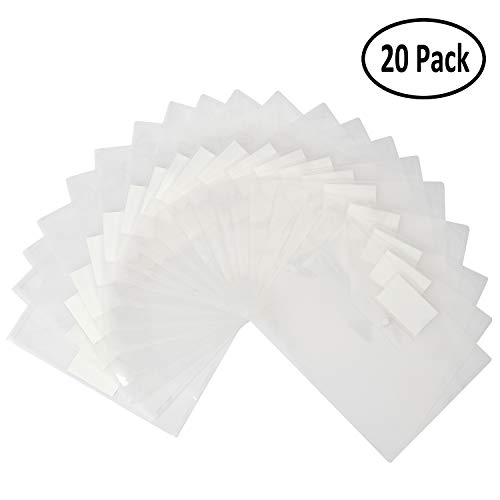 20 Pack Poly Filing Envelope, Wellerly Plastic Clear Document Folder with Label Pocket/Snap Button Closure, US Letter / A4 Size, File Envelopes for School Home Work Office, White Transparent