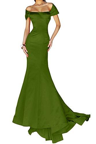 Schulter Satin Lang Mermaid Elegant Olive Stil Packung Bride Gorgeous Abendmode Abendkleid Festkleid wITW6UqBS