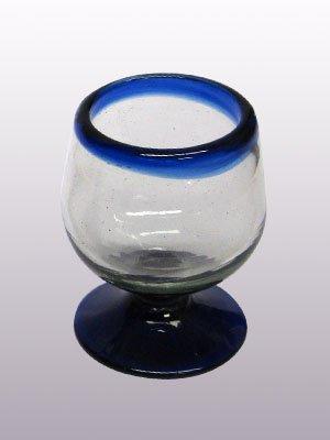 Mexican Blown Glass Cognac Glasses Cobalt Blue Rim (Set of 6)